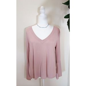 Lucky Brand Boho Pink V-Neck with Bell Sleeves